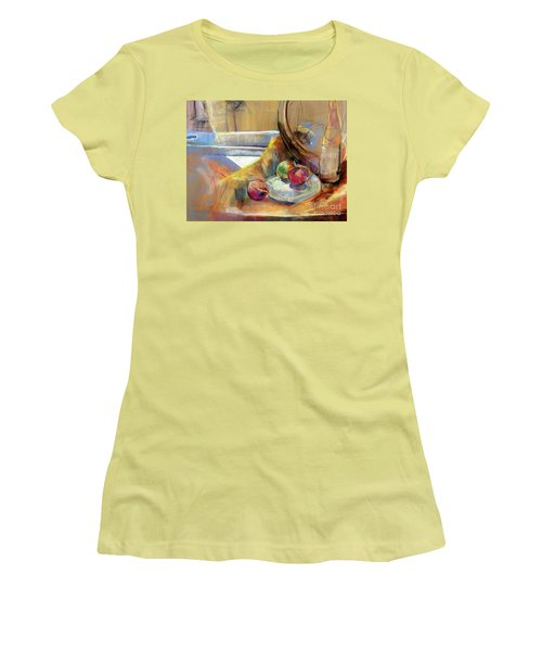 Women's T-Shirt (Junior Cut) featuring the painting Still Life With Onions by Daun Soden-Greene