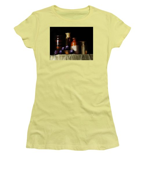 Women's T-Shirt (Junior Cut) featuring the painting Still Life With Plums by Barry Williamson