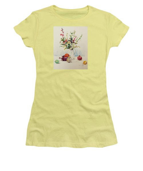 Women's T-Shirt (Junior Cut) featuring the painting Still Life With Pomegranate by Becky Kim