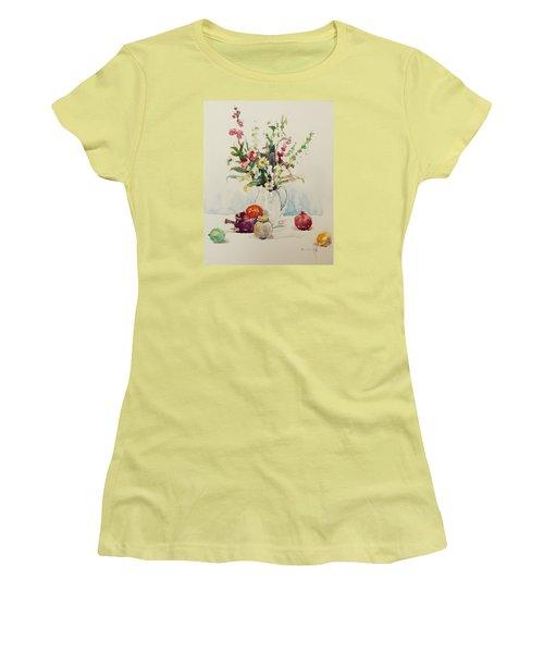 Still Life With Pomegranate Women's T-Shirt (Junior Cut) by Becky Kim