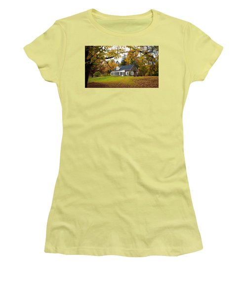 Stone Cottage In The Fall Women's T-Shirt (Athletic Fit)