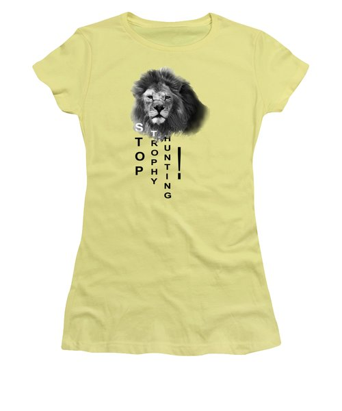 Stop Trophy Hunting Women's T-Shirt (Junior Cut) by Jivko Nakev