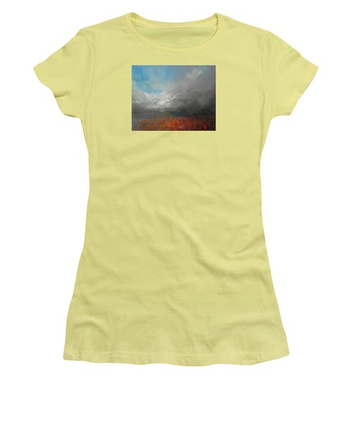 Women's T-Shirt (Junior Cut) featuring the painting Storm Clouds by Jane See