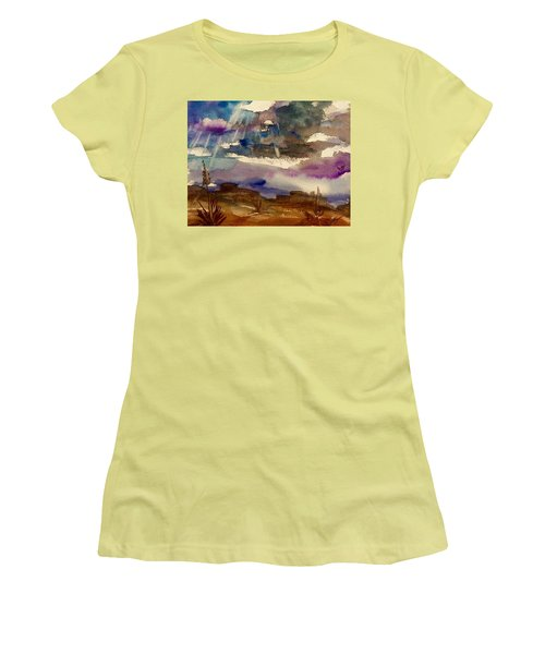 Storm Clouds Over The Desert Women's T-Shirt (Junior Cut) by Ellen Levinson