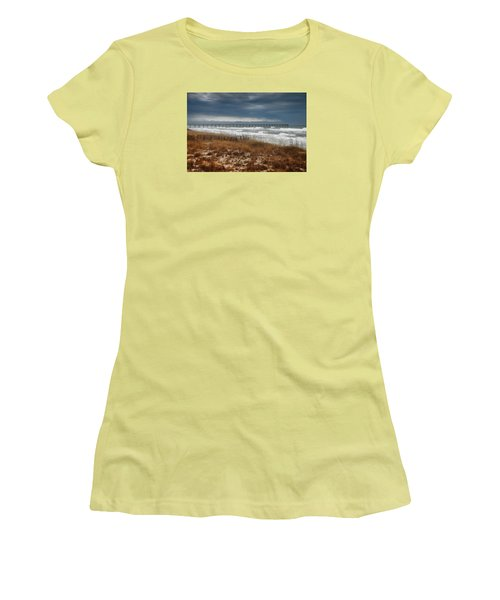 Women's T-Shirt (Junior Cut) featuring the photograph Stormy Day At The Pier by Renee Hardison