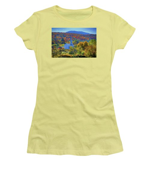 Women's T-Shirt (Athletic Fit) featuring the photograph Stowe Vermont Church In Fall by Jeff Folger