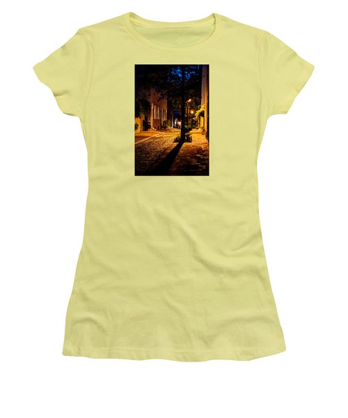 Women's T-Shirt (Junior Cut) featuring the photograph Street In Olde Town Philadelphia by Mark Dodd