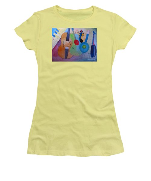 Women's T-Shirt (Junior Cut) featuring the painting Strings by Sandy McIntire