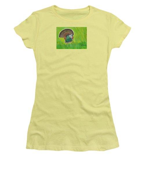Strutting Turkey In The Grass Women's T-Shirt (Junior Cut) by Margaret Harmon
