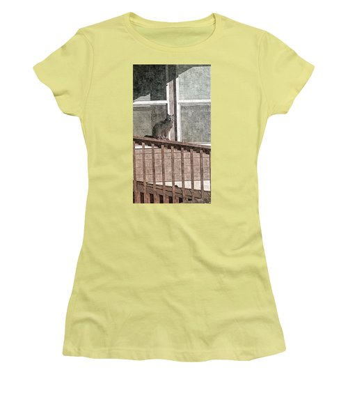 Study Of Lines With Cat Women's T-Shirt (Junior Cut) by Karl Reid
