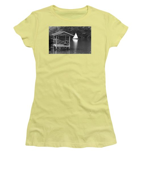 Summer Camp Black And White 1 Women's T-Shirt (Junior Cut) by Michael Fryd