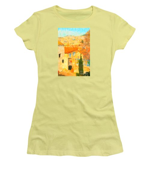 Women's T-Shirt (Junior Cut) featuring the painting Summer In Athens by Chris Armytage