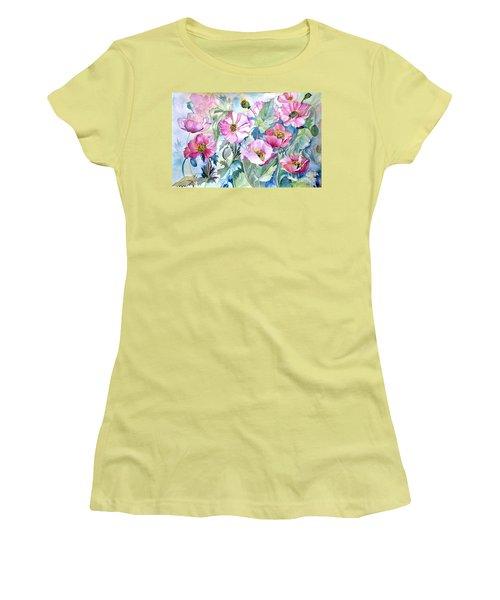Summer Poppies Women's T-Shirt (Junior Cut) by Iya Carson