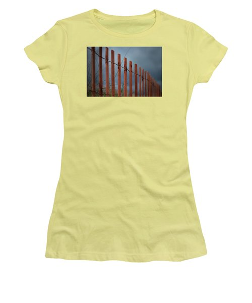 Women's T-Shirt (Junior Cut) featuring the photograph Summer Storm Beach Fence by Laura Fasulo