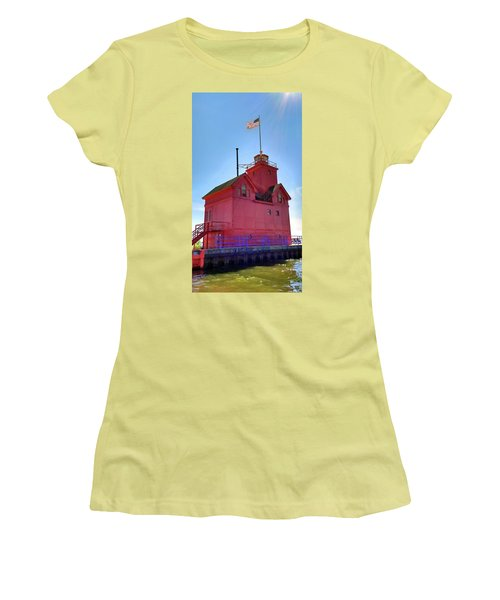 Women's T-Shirt (Athletic Fit) featuring the photograph Summer Sun And Big Red by Michelle Calkins