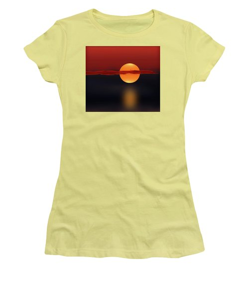 Sun On Red And Blue Women's T-Shirt (Junior Cut) by Deborah Smith
