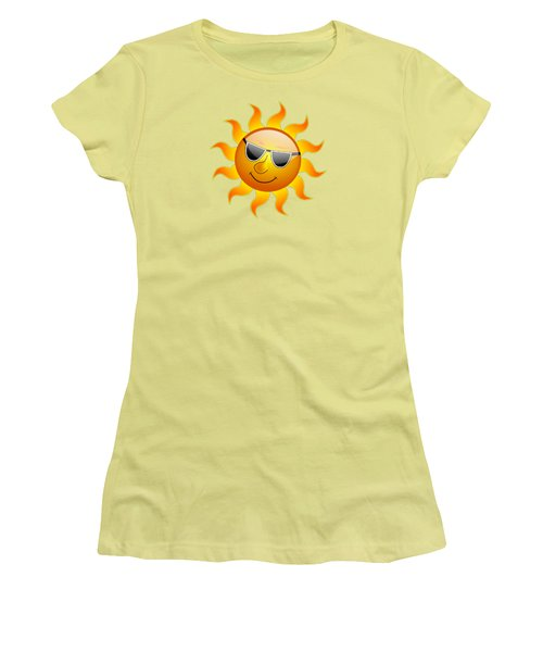 Women's T-Shirt (Junior Cut) featuring the digital art Sun With Sunglasses by Movie Poster Prints