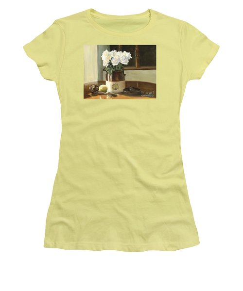 Sunday Morning And Roses - Study Women's T-Shirt (Junior Cut) by Marlene Book