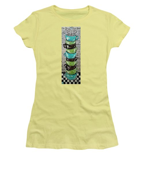 Sundays Cup A Joe Dark Roast Women's T-Shirt (Junior Cut) by Jackie Carpenter