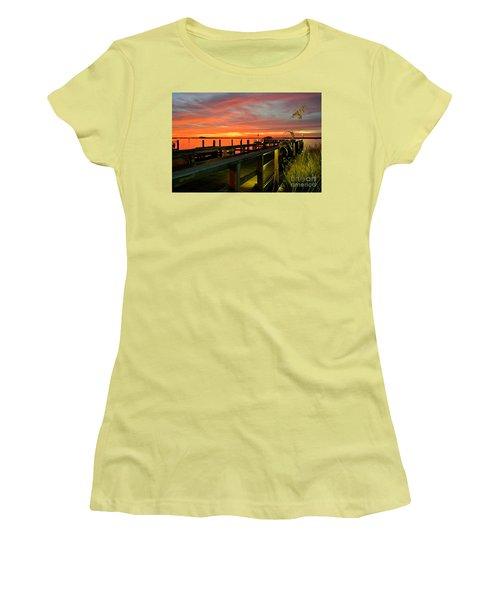 Women's T-Shirt (Junior Cut) featuring the photograph Sundown by Elfriede Fulda