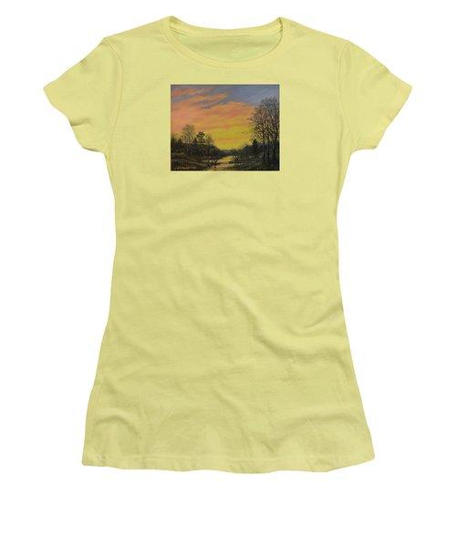 Women's T-Shirt (Junior Cut) featuring the painting Sundown Glow by Kathleen McDermott