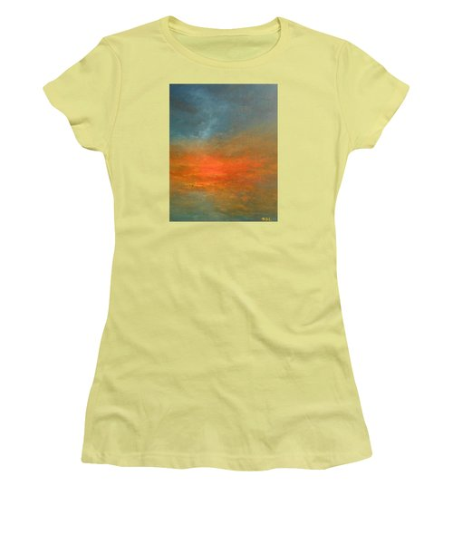 Women's T-Shirt (Junior Cut) featuring the painting Sundown by Jane See