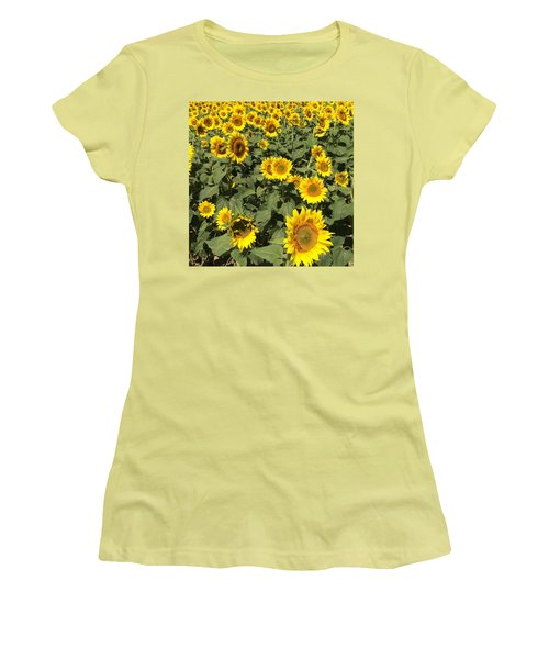 Sunflower 2016 Women's T-Shirt (Junior Cut) by Caroline Stella