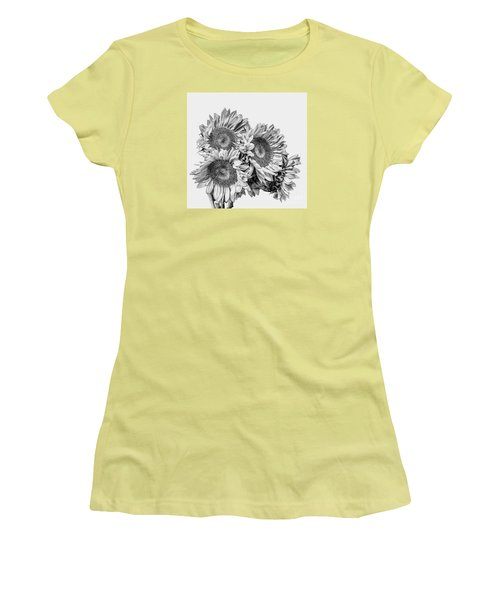Women's T-Shirt (Junior Cut) featuring the photograph Sunflower Bouquet Bw by Shirley Mangini