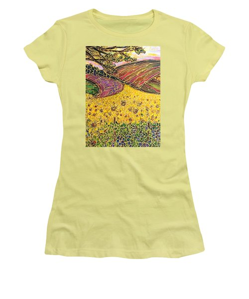 Women's T-Shirt (Junior Cut) featuring the painting Sunflower Fields by Rae Chichilnitsky