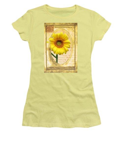 Sunflower On Vintage Postcard Women's T-Shirt (Junior Cut) by Nina Silver