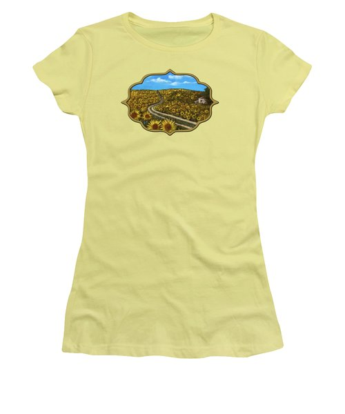 Women's T-Shirt (Athletic Fit) featuring the painting Sunflower Road by Anastasiya Malakhova