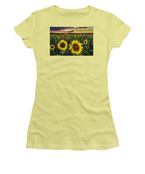 Sunflower Sunset Women's T-Shirt (Junior Cut) by Kristal Kraft