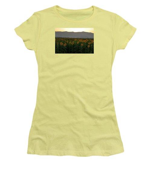 Women's T-Shirt (Junior Cut) featuring the photograph Sunflowers by Dubi Roman