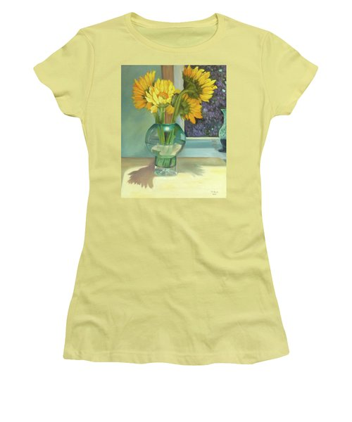 Women's T-Shirt (Athletic Fit) featuring the painting Sunflowers In A Glass Vase Number Three by Marlene Book