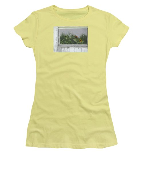 Sunflowers On Barn Women's T-Shirt (Junior Cut) by Tina M Wenger