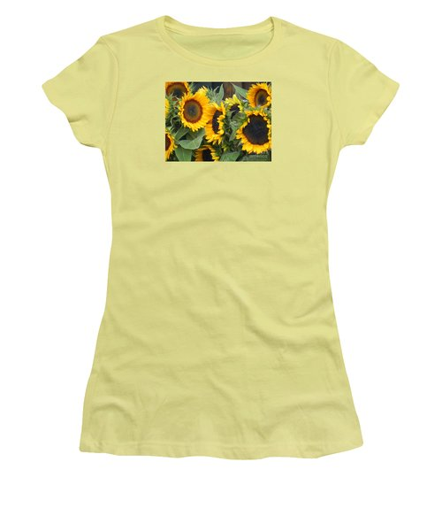 Women's T-Shirt (Junior Cut) featuring the photograph Sunflowers Two by Chrisann Ellis
