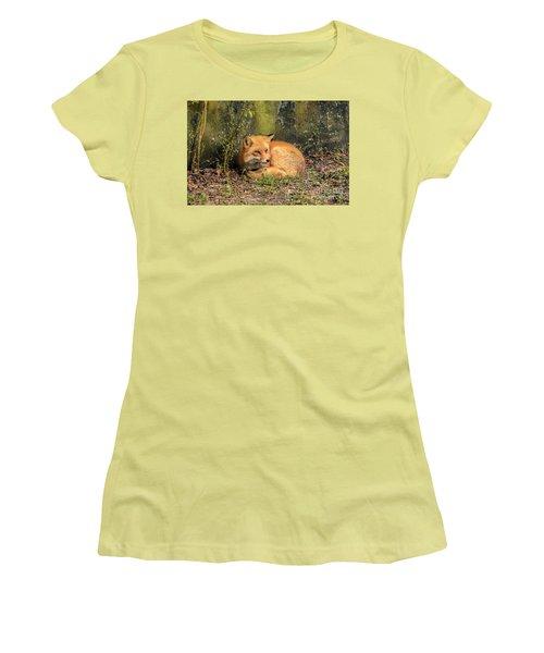 Sunning Fox Women's T-Shirt (Junior Cut) by Debbie Green