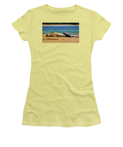 Women's T-Shirt (Junior Cut) featuring the photograph Sunning On The Beach In Hawaii by Craig Wood
