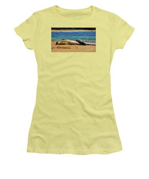 Sunning On The Beach In Hawaii Women's T-Shirt (Junior Cut) by Craig Wood