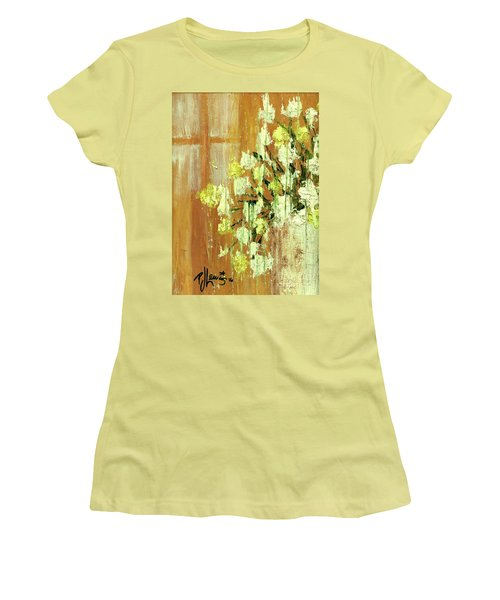 Sunny Flowers Women's T-Shirt (Junior Cut) by P J Lewis