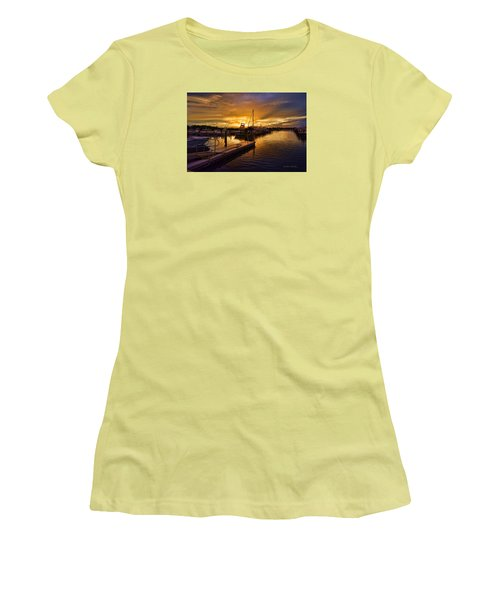 Women's T-Shirt (Junior Cut) featuring the photograph Sunrise Marina by Don Durfee