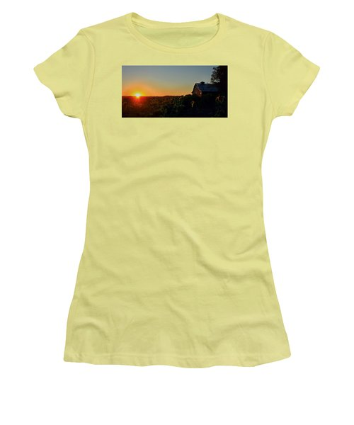 Women's T-Shirt (Junior Cut) featuring the photograph Sunrise On The Farm by Chris Berry