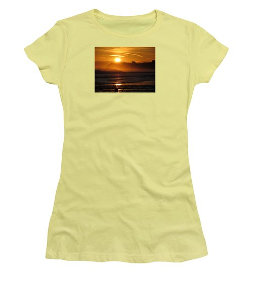 Women's T-Shirt (Junior Cut) featuring the photograph Sunrise Over Sandsend Beach by RKAB Works
