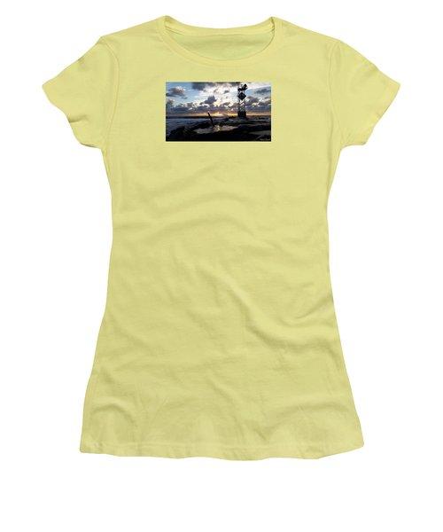 Women's T-Shirt (Junior Cut) featuring the photograph Sunrise Splash On The Jetty by Robert Banach