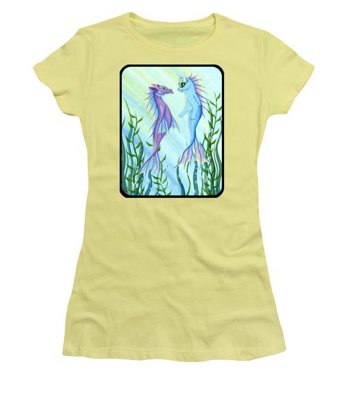 Women's T-Shirt (Athletic Fit) featuring the painting Sunrise Swim - Sea Dragon Mermaid Cat by Carrie Hawks