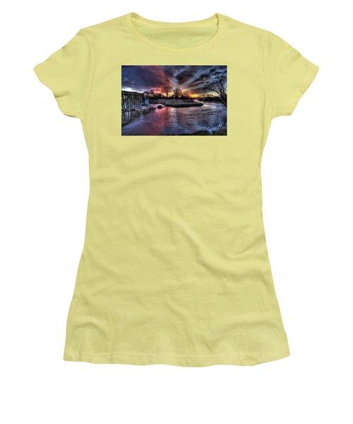 Sunrise Trestle #1 Women's T-Shirt (Junior Cut) by Fiskr Larsen