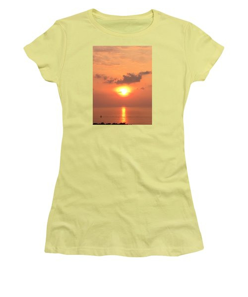 Sunset And Sailboat Women's T-Shirt (Junior Cut) by Karen Nicholson