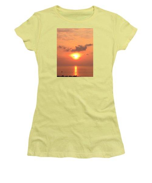 Women's T-Shirt (Junior Cut) featuring the photograph Sunset And Sailboat by Karen Nicholson