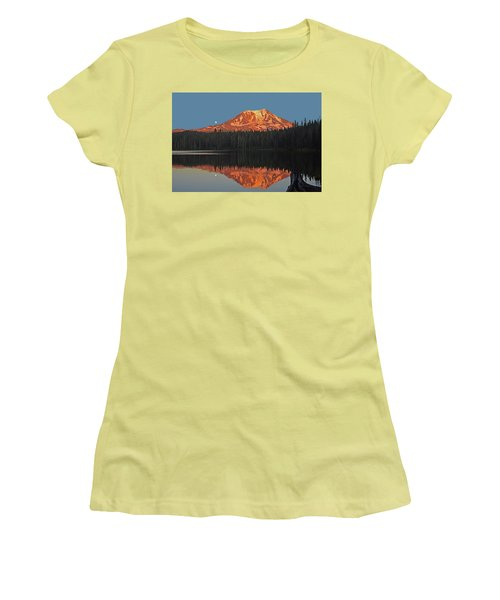 Women's T-Shirt (Junior Cut) featuring the photograph Sunset And Moonrise At Takhlakh Lake by Jack Moskovita