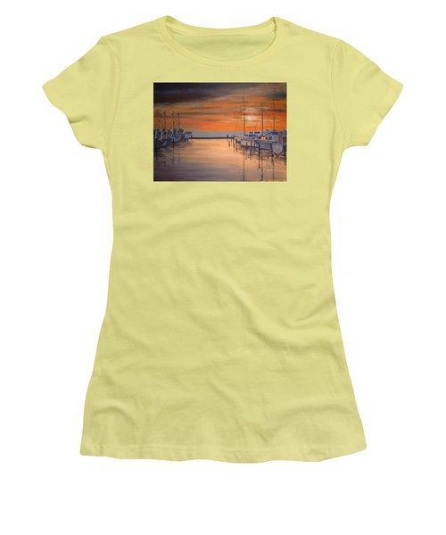 Sunset At Marina Women's T-Shirt (Athletic Fit)